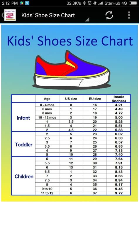 toddler to kid shoe size chart and shoe size chart converter android apps on