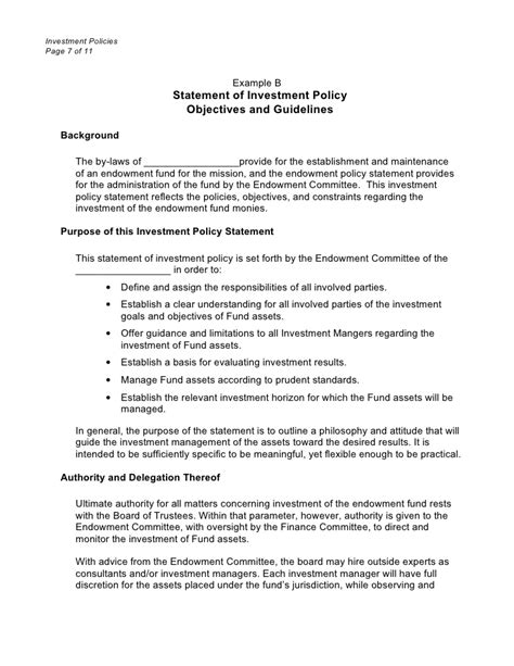 Investment Policies Doc Foundation Investment Policy Statement Template