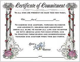 wedding commitment certificates page 1