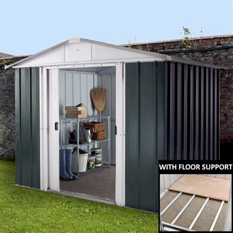 Shed With Floor by Yardmaster 87geyz Metal Shed 7x8 With Floor Support Kit