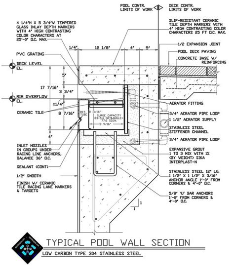 swimming pool detail section swimming pool autocad drawing details pinteres
