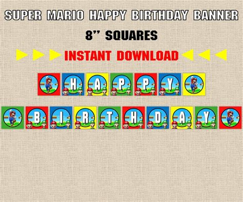 printable mario banner instant download super mario brothers birthday banner