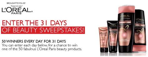 Product Sweepstakes - l oreal s 31 days of beauty products giveaway sweepstakes