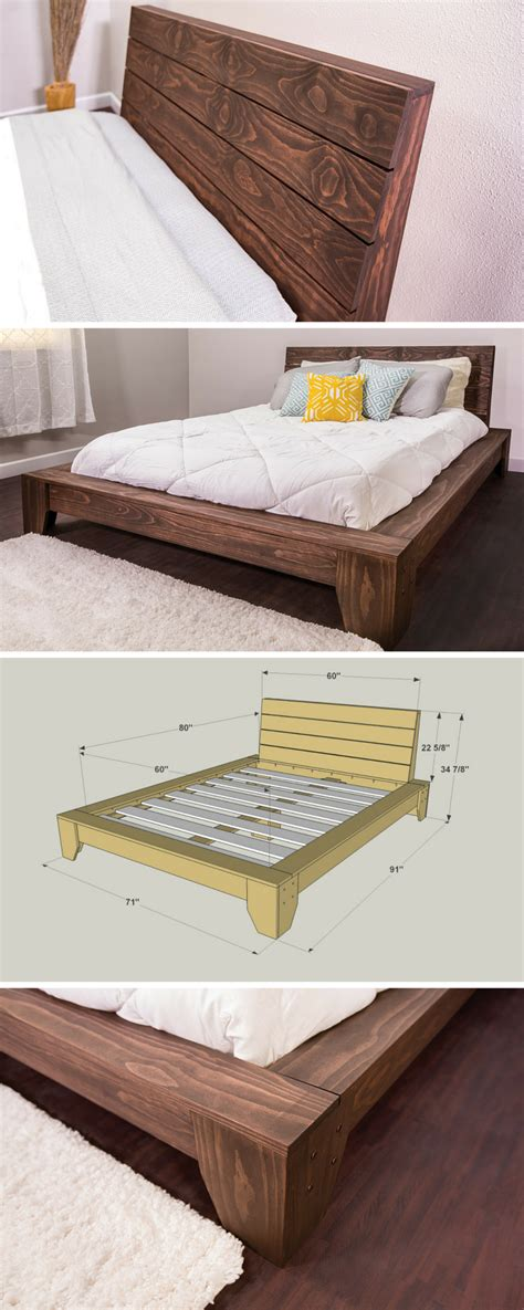 diy queen bed 25 easy diy bed frame projects to upgrade your bedroom