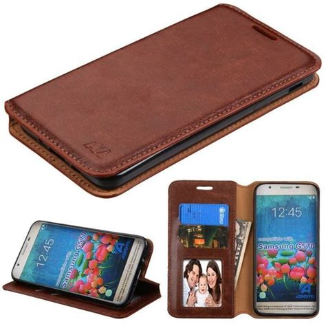 shop insten brown leatherette case cover  stand wallet flap pouch photo display