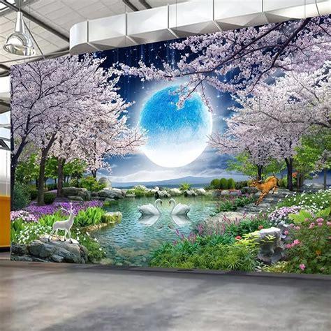 custom mural wall paper moon cherry blossom tree nature