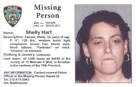 missing shelly hart missing aug 2005 new york missing