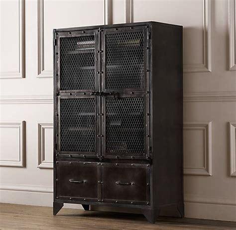 restoration hardware liquor cabinet vintage industrial steel cabinet bookcases storage
