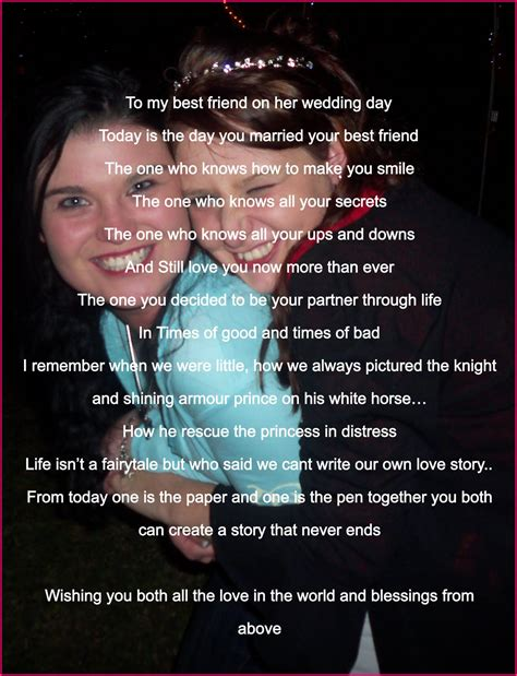 poem for my best friend s wedding card wedding day blessing best friend quotes quotesgram