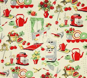 Kitchen Curtain Fabric Michael Miller Fabric Fifties Kitchen By Belloberryfabricshop
