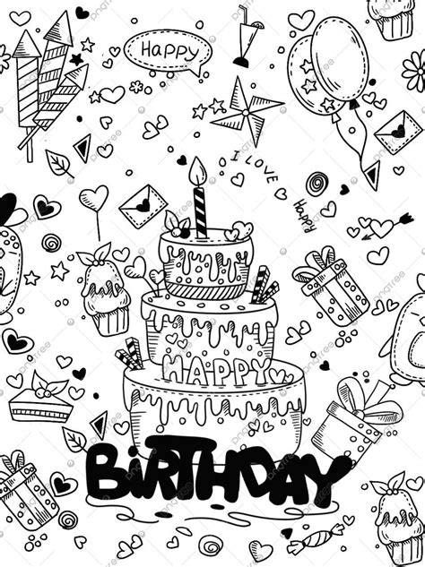 Hand Drawn Cartoon Birthday Cake Illustration, Festival