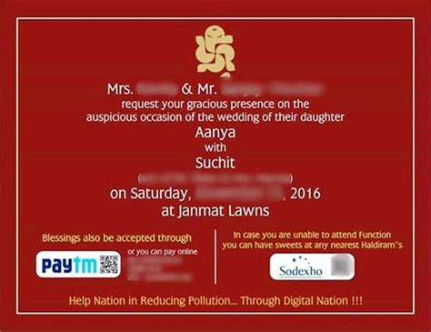 Wedding Card Options by This Wedding Card With Paytm Sodexo Options Is The Most