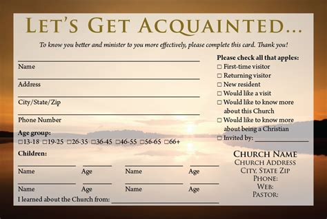 church volunteer info card template visitor card templates calvary publishing