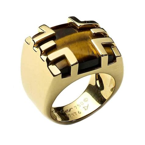 Dome Home Interiors cartier tiger s eye gold ring for sale at 1stdibs