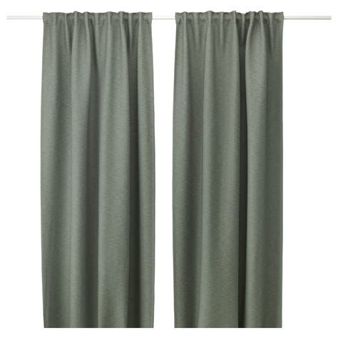 vilborg curtains 1 pair green 145x250 cm ikea