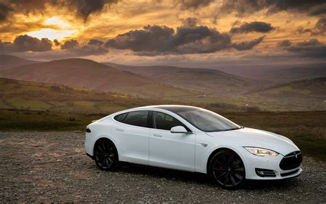 hd background tesla model  p white sunset side view