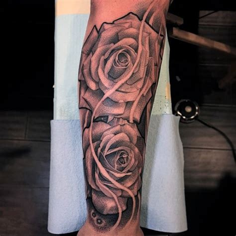 half open rose tattoo 100 forearm sleeve designs for manly ink