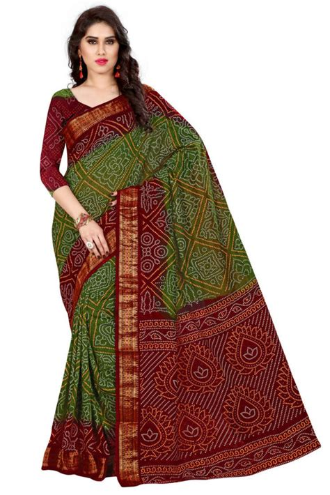 Buy Red hand woven Bandhani saree With Blouse Online