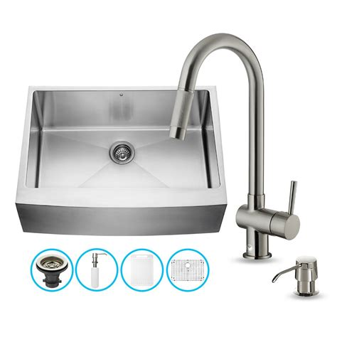 Vigo Kitchen Sinks Vigo Vg15276 Vigo All In One 30 Inch Farmhouse Stainless Steel Kitchen Sink And Faucet Set Atg
