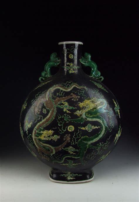 Moon Vase by Antique Plain Tricolored Porcelain Flat Moon Vase