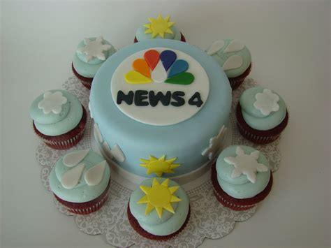 newspaper themed cake nbc news 4 weather cake and cupcakes for chief