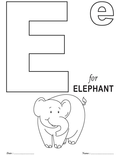 printables alphabet e coloring sheets download free
