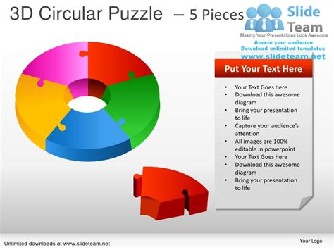 How To Make 5 Piece Business Process Circular Puzzle Puzzle Smartart For Powerpoint