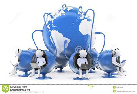 Globe Desk 3d White People Global Call Center Stock Illustration