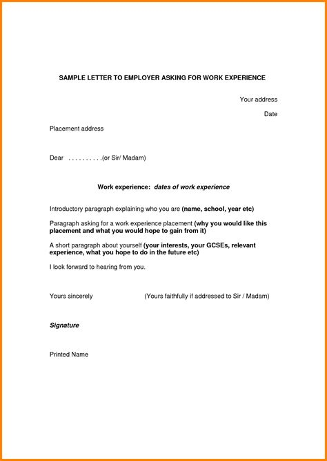 Work Experience Letter Reference Sle Work Experience Letter From Employer Shishita World