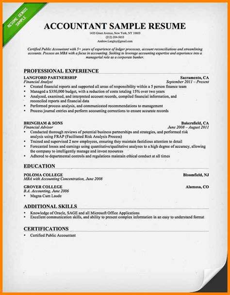 Resume Exles In Word Documents 5 Accountant Resume Format In Word Cashier Resumes