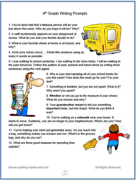 4th Grade Writing Prompts For Fun Spelling And Language Practice | 4th grade writing prompts for fun spelling and language