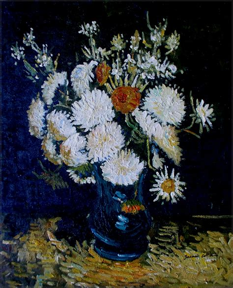 Gogh Flowers In A Vase by Framed Gogh Flowers In A Vase Repro Painted