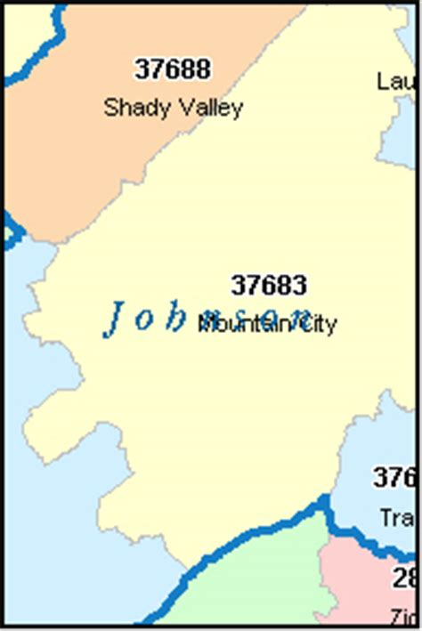 zip code map johnson city tn johnson county tennessee digital zip code map