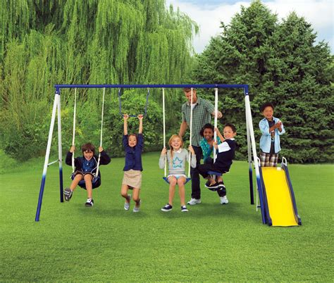 kids on swings sportspower grove park 4 leg metal swing set