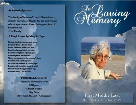 free memorial templates free funeral program template microsoft word
