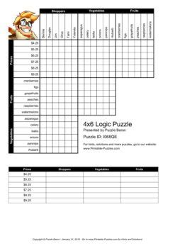 printable logic puzzles baron 4x6 logic puzzle logic puzzles play online or print