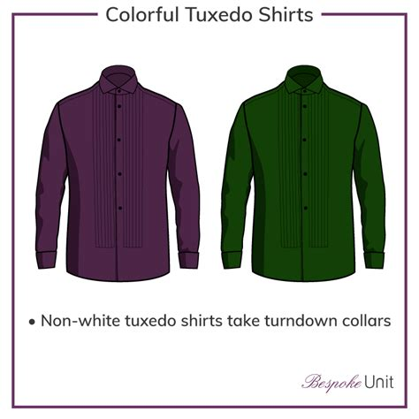 colorful tuxedos tuxedo shirts 1 guide to the tux shirt collars cuffs
