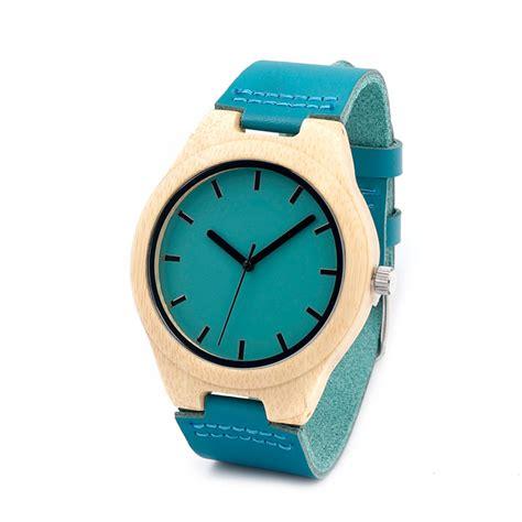 Handmade Leather Watches - bobo bird handmade bamboo with blue genuine