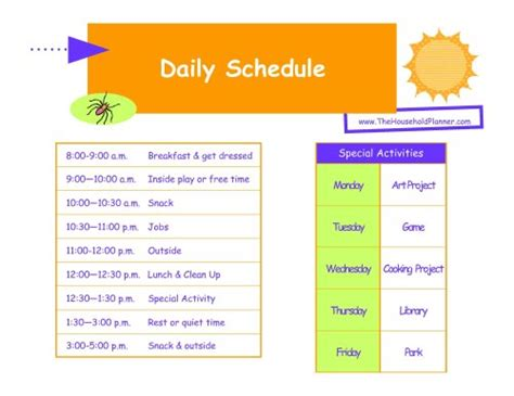 daily schedule template for students home summer schedule keeping the in order
