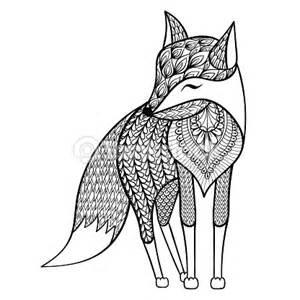zentangle vecteur heureux fox pour adulte antistress des