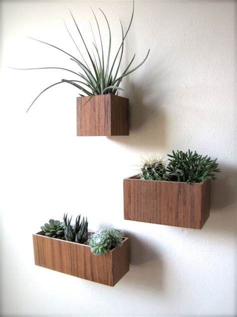 set of three hanging wall plant holders in teak wood