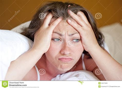 bad in bed girl has woken up in the morning in bed in a bad mood stock photo image 33471840