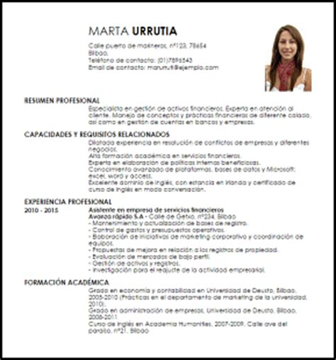 Modelo Curriculum Financiero Modelo Curriculum Vitae Gestor De Activos Financieros Livecareer