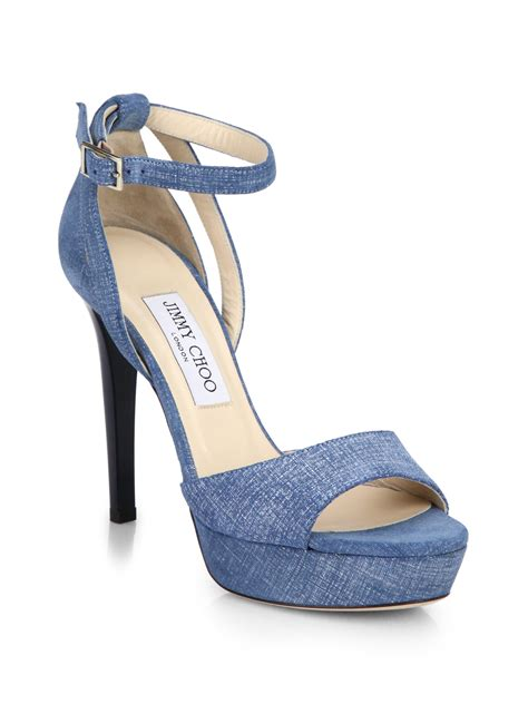 jimmy choo denim platform sandals in blue lyst
