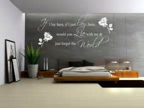 grey accent wall color with decorative wall decals quotes unique bedroom wall decal idea showing abstract black tree