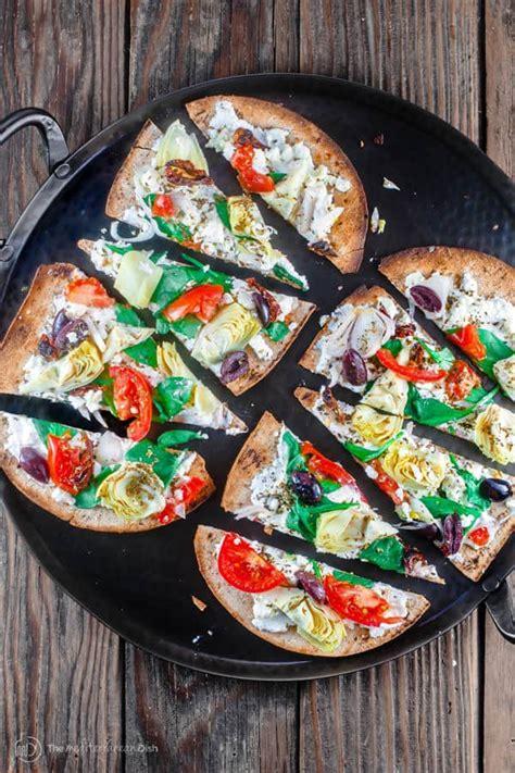 minute artichoke garden flatbread pizza