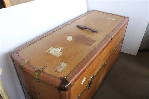 Travel Trunk Coffee Table Large Leather Travel Trunk Coffee Table For Sale At 1stdibs