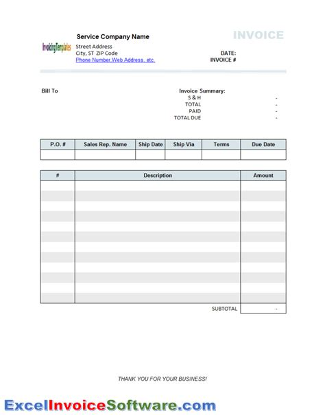 excel bill template generic service invoice template 2 for excel invoice software