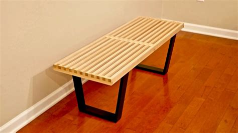 diy nelson bench diy mid century modern slatted bench woodworking youtube
