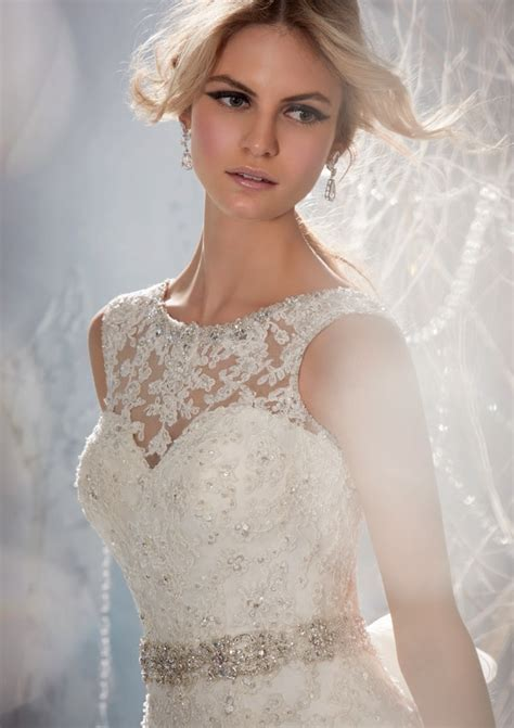 morilee bridal beaded lace appliques on tulle wedding